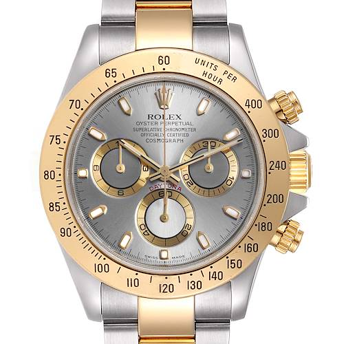 Photo of Rolex Daytona Steel Yellow Gold Slate Dial Chronograph Mens Watch 116523