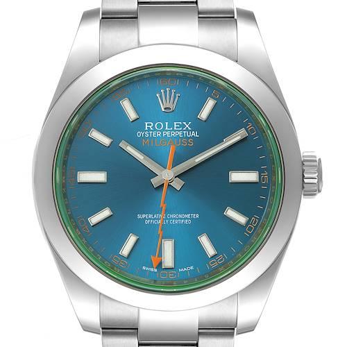 Photo of Rolex Milgauss Blue Dial Green Crystal Steel Mens Watch 116400GV