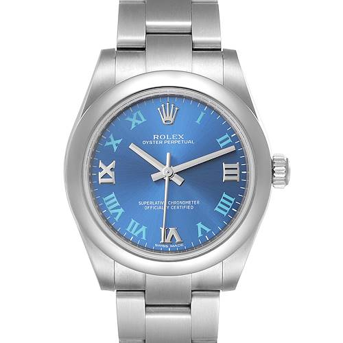 Photo of Rolex Oyster Perpetual Midsize 31 Blue Dial Steel Ladies Watch 177200