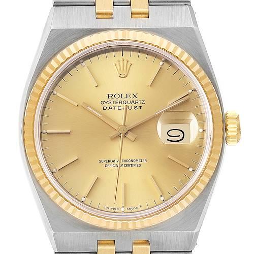 Photo of Rolex Oysterquartz Datejust Steel Yellow Gold Watch 17013 Box Service Card