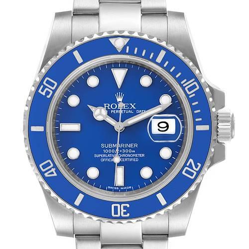 Photo of Rolex Submariner Smurf White Gold Blue Dial Bezel Watch 116619 Box Card