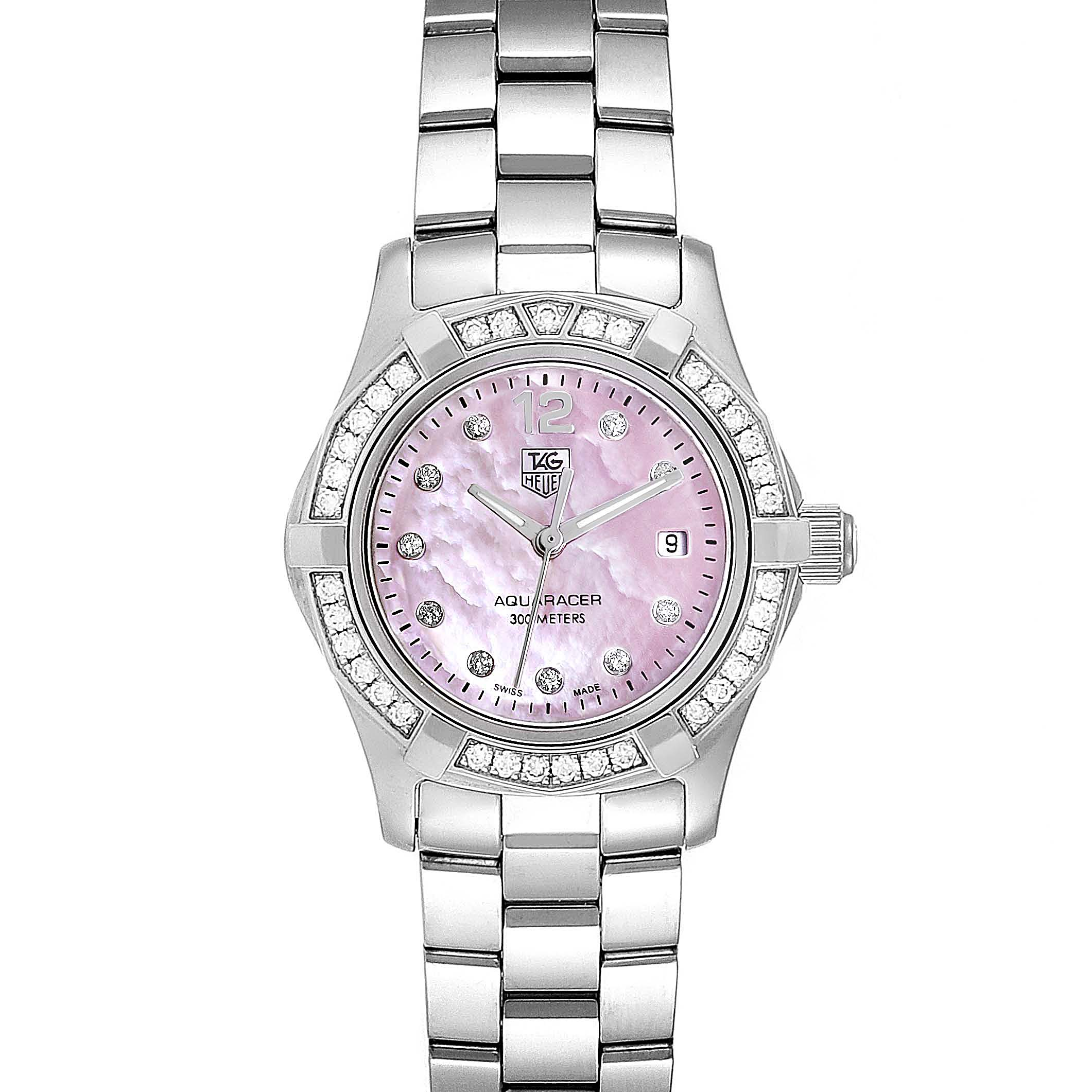 Photo of TAG Heuer Aquaracer Mother of Pearl Diamond Ladies Watch WAF141B
