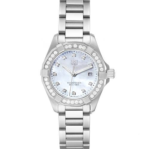 Photo of TAG Heuer Aquaracer Mother of Pearl Diamond Ladies Watch WAY1414 Box Card