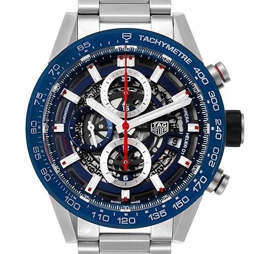 Photo of Tag Heuer Carrera Blue Skeleton Dial Chronograph Watch CAR201T Box Card