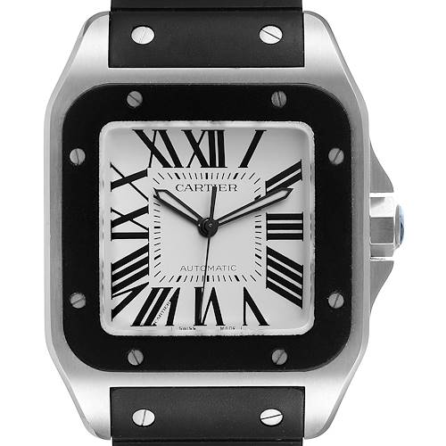 Photo of Cartier Santos 100 Steel Black Rubber Strap Mens Watch W20121U2