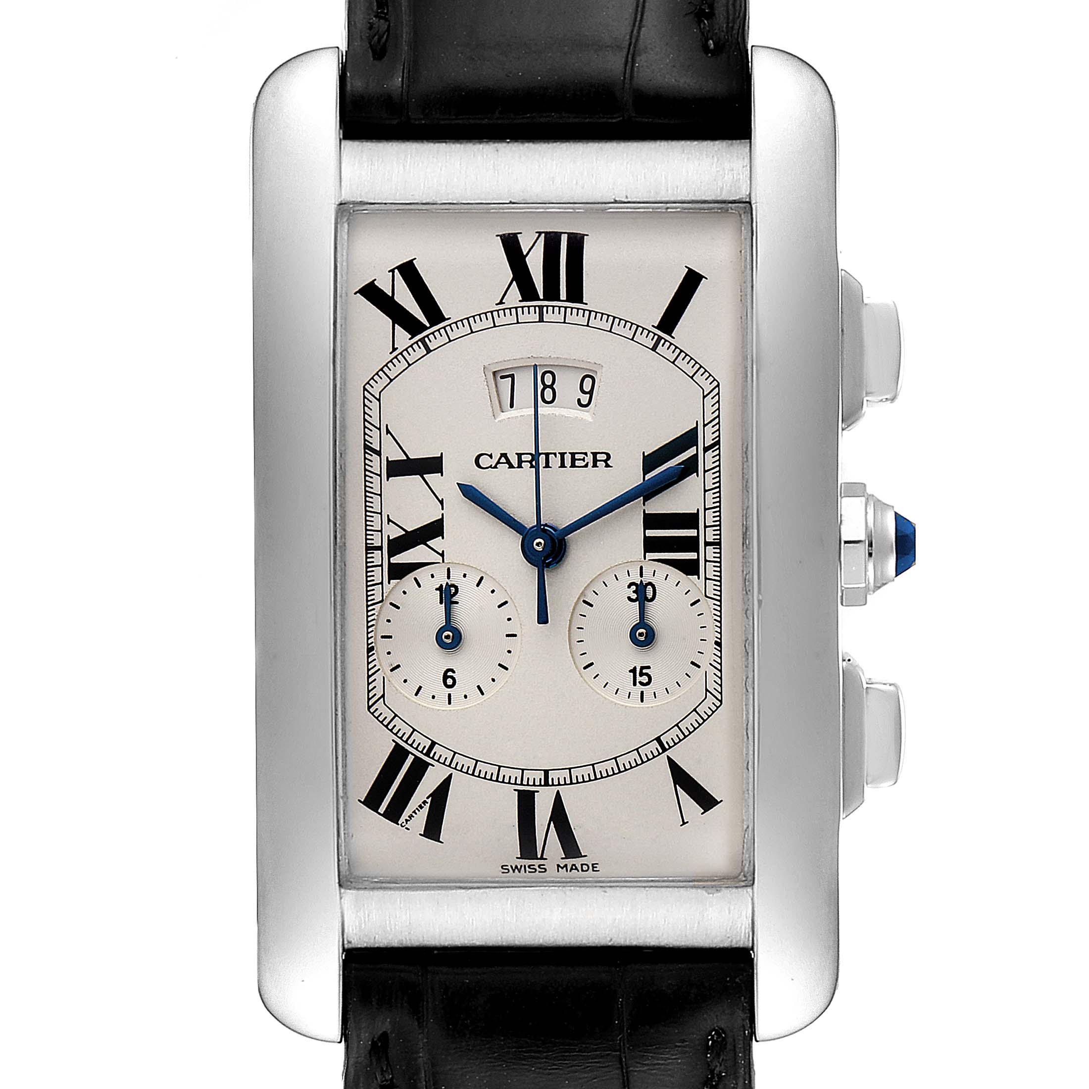 Cartier Tank Americaine White Gold Chronograph Mens Watch 2569
