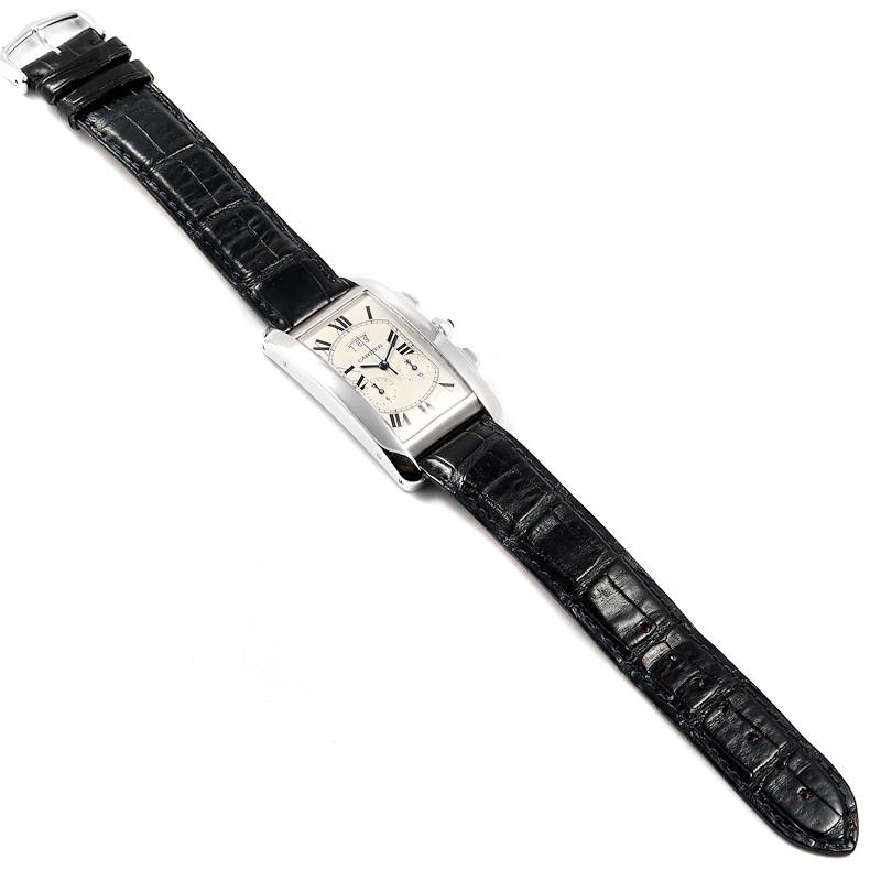 Cartier Tank Americaine White Gold Chronograph Mens Watch 2569 SwissWatchExpo