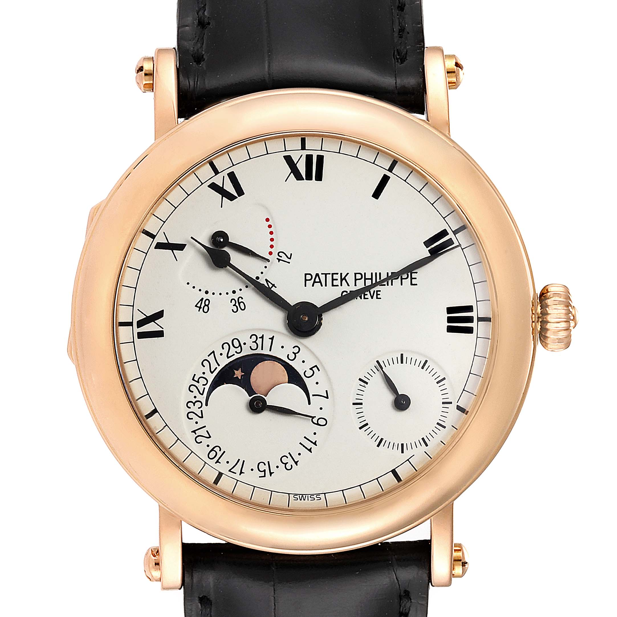 Patek Philippe Complications Power Reserve Moonphase Rose Gold Watch 5054 SwissWatchExpo