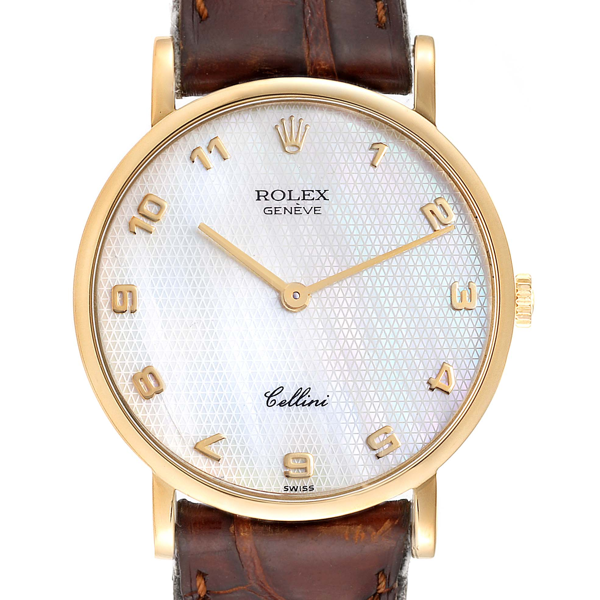 Rolex Cellini Classic Yellow Gold Mother Of Pearl Unisex Watch 5112 SwissWatchExpo