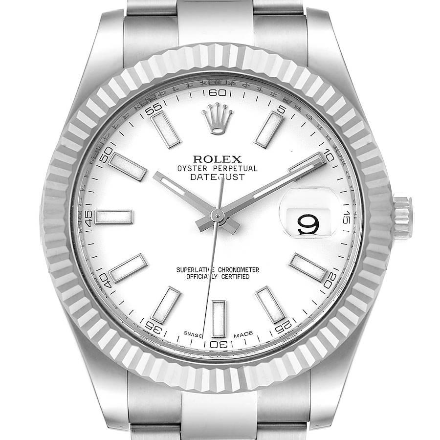 Rolex Datejust II 41mm Steel White Gold Mens Watch 116334 SwissWatchExpo