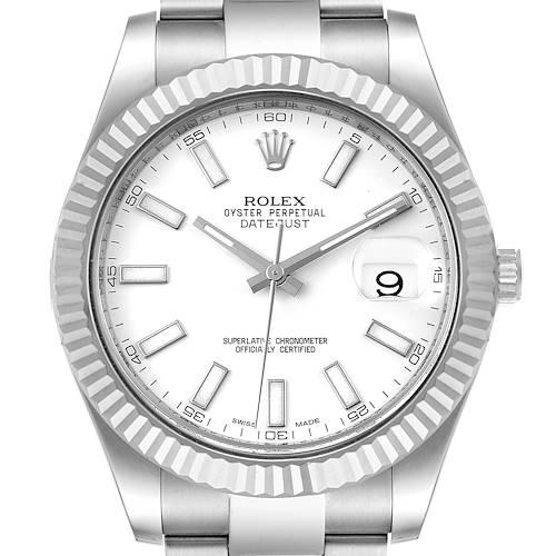 Photo of Rolex Datejust II 41mm Steel White Gold Mens Watch 116334