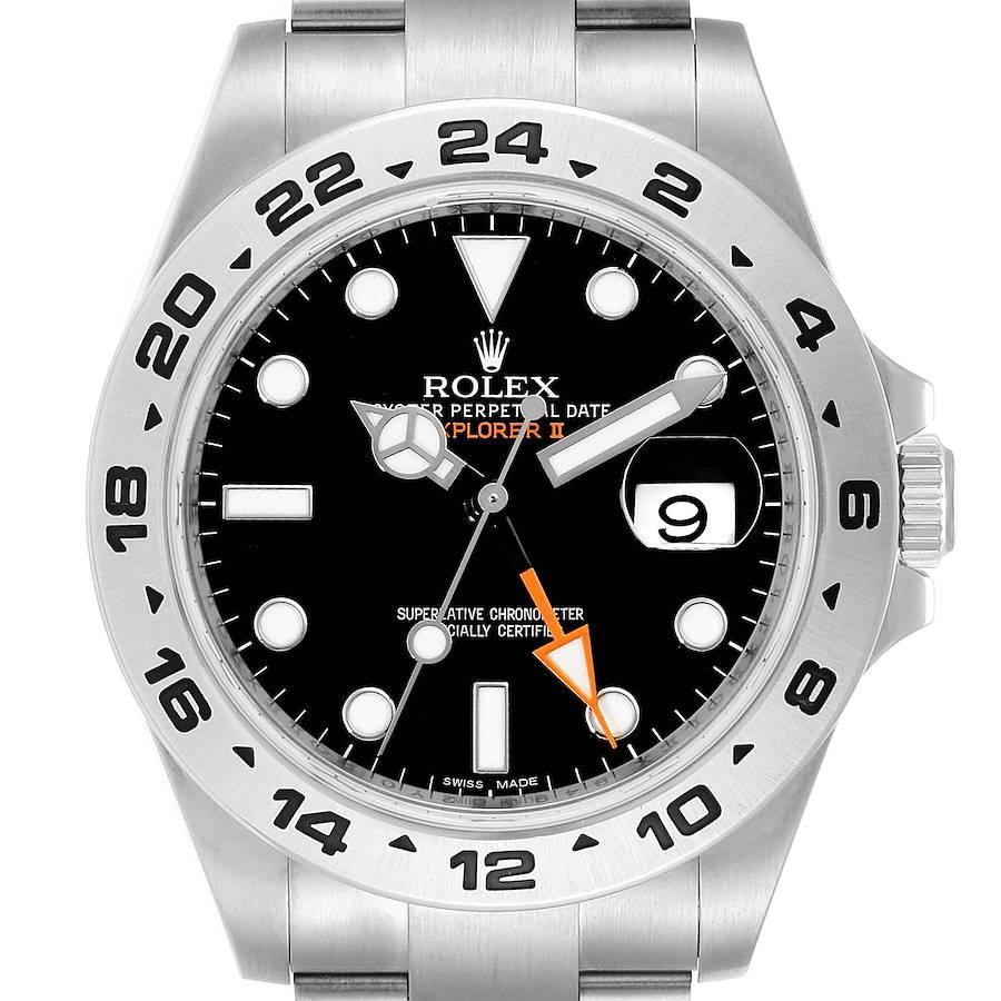 Rolex Explorer II 42 Black Dial Orange Hand Steel Watch 216570 Box Card SwissWatchExpo
