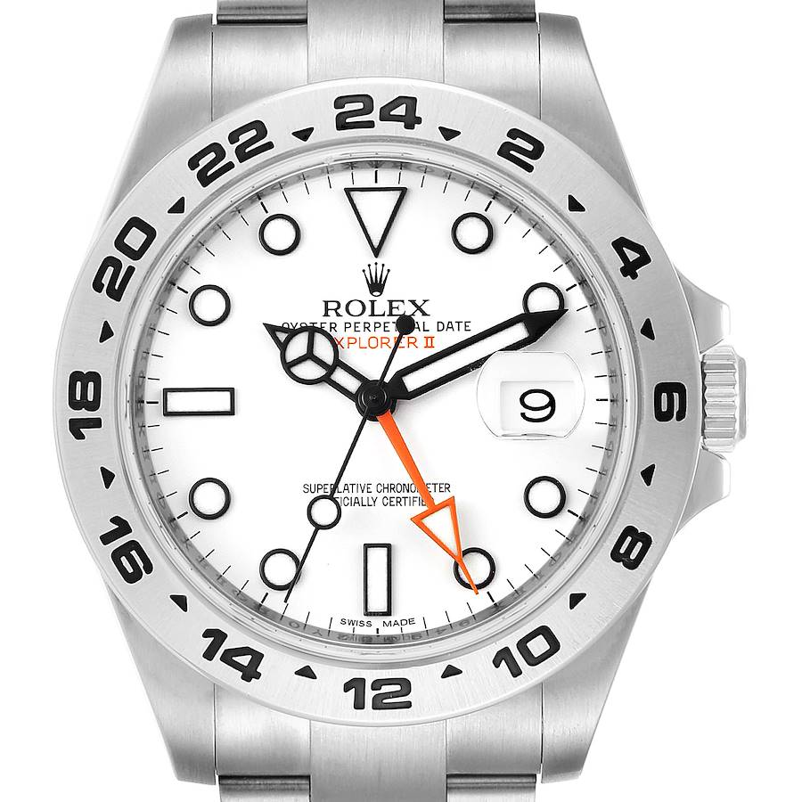 Rolex Explorer II 42 White Dial Orange Hand Mens Watch 216570 Box Card SwissWatchExpo