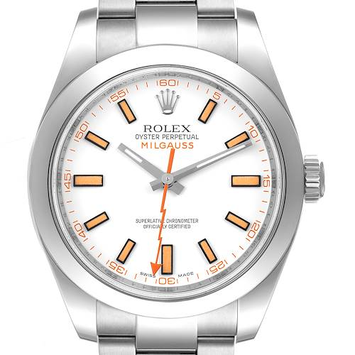 Photo of Rolex Milgauss White Dial Stainless Steel Mens Watch 116400V Box Card