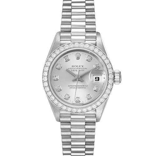 Photo of Rolex President Platinum Silver Diamond Dial Ladies Watch 69136
