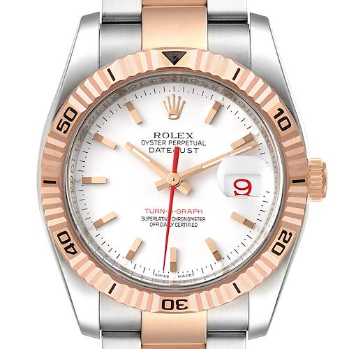Photo of Rolex Turnograph Datejust Steel 18K Rose Gold Mens Watch 116261 Box Papers
