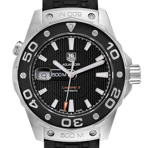 Photo of Tag Heuer Aquaracer Calibre 5 500M Steel Mens Watch WAJ2110 Box Card
