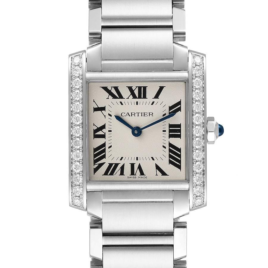 Cartier Tank Francaise Midsize Diamond Steel Ladies Watch W4TA0009 SwissWatchExpo