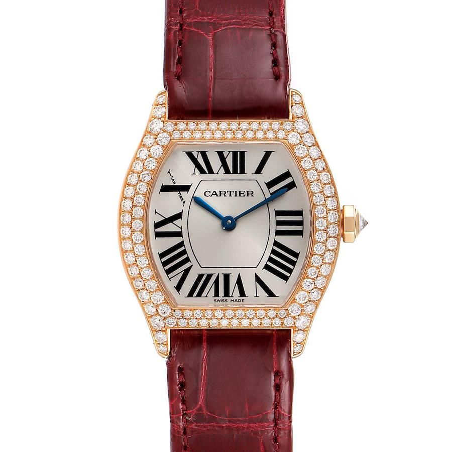 Cartier Tortue 18k Rose Gold Diamond Burgundy Strap Ladies Watch 2645 SwissWatchExpo