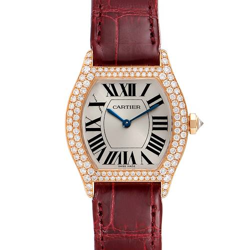 Photo of Cartier Tortue 18k Rose Gold Diamond Burgundy Strap Ladies Watch 2645