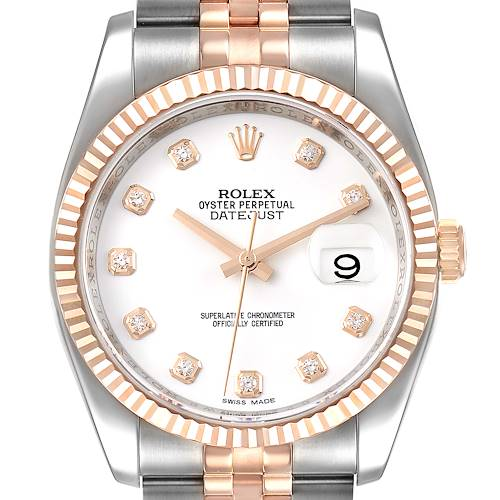 Photo of Rolex Datejust 36mm Steel Rose Gold Diamond Unisex Watch 116231