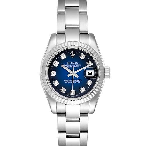 Photo of Rolex Datejust Steel White Gold Blue Vignette Diamond Dial Ladies Watch 179174