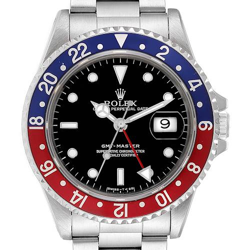 Photo of Rolex GMT Master 40mm Blue Red Pepsi Bezel Mens Watch 16700 Box
