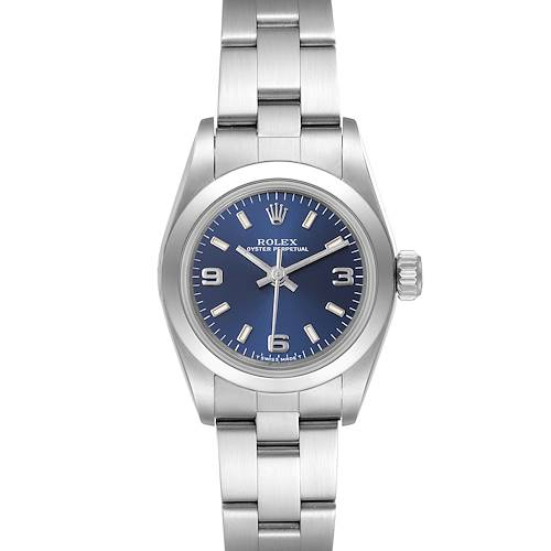 Photo of Rolex Oyster Perpetual Nondate Steel Blue Dial Ladies Watch 67180