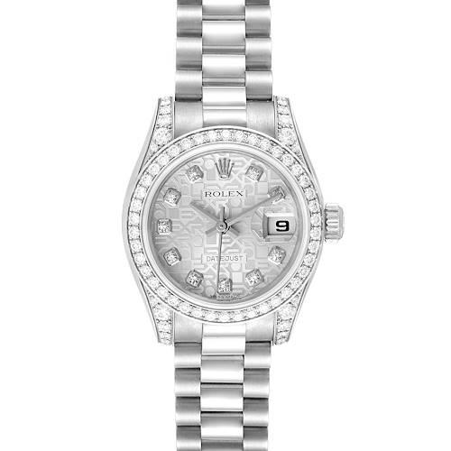 Photo of Rolex President Datejust 18k White Gold Diamond Ladies Watch 179159