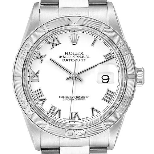 Photo of Rolex Turnograph Datejust Steel White Gold White Roman Dial Watch 16264