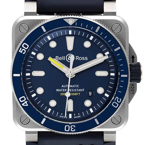 Photo of Bell & Ross Diver Blue Dial Automatic Steel Mens Watch BR0392 Box Card