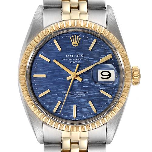 Photo of Rolex Date Steel Yellow Gold Blue Brick Dial Vintage Mens Watch 1505
