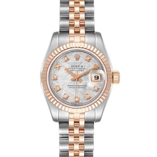 Photo of Rolex Datejust Steel EveRose Gold Meteorite Diamond Watch 179171 Box Papers