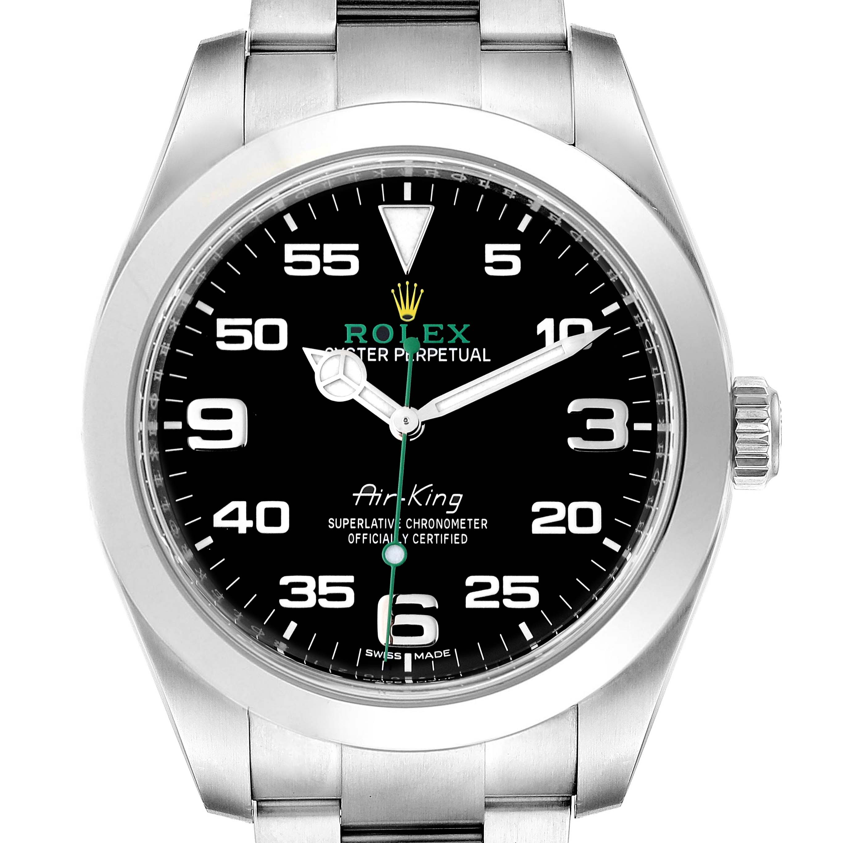 Rolex Oyster Perpetual Air King Black Dial Steel Watch 116900 Box Card