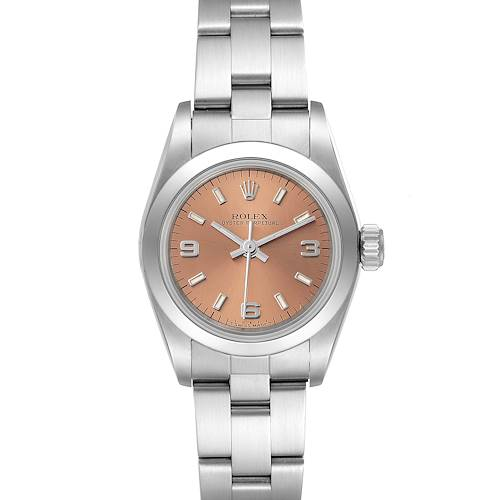 Photo of Rolex Oyster Perpetual Nondate Steel Salmon Dial Watch 67180 Box Papers