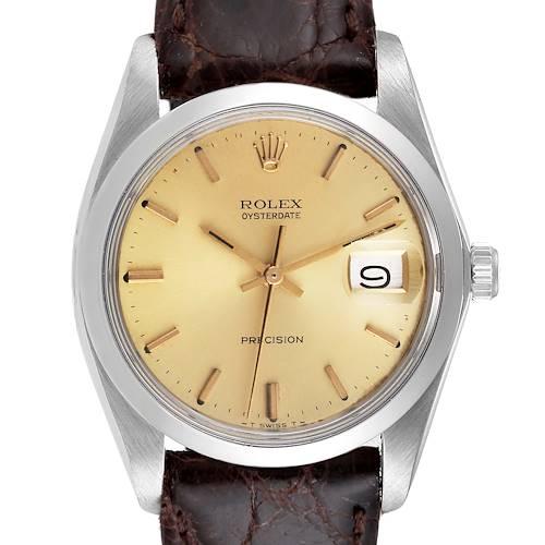 Photo of Rolex OysterDate Precision Brown Strap Steel Vintage Mens Watch 6694