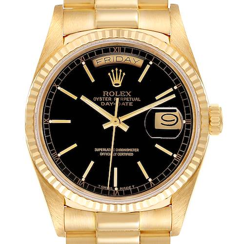 Photo of Rolex President Day-Date Yellow Gold Black Dial Mens Watch 18038