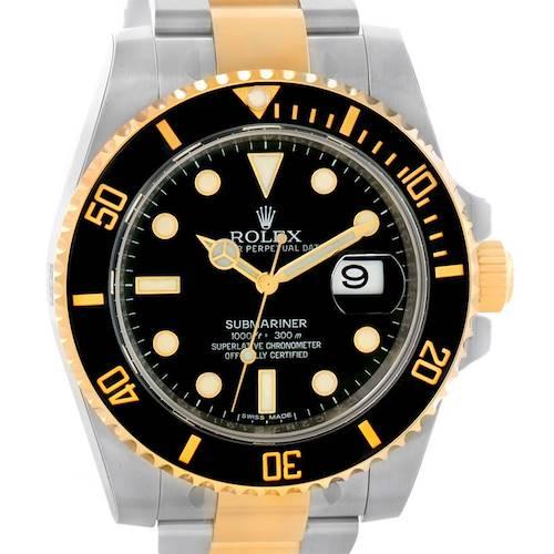 Photo of Rolex Submariner Steel 18K Yellow Gold Black Dial Watch 116613 Unworn