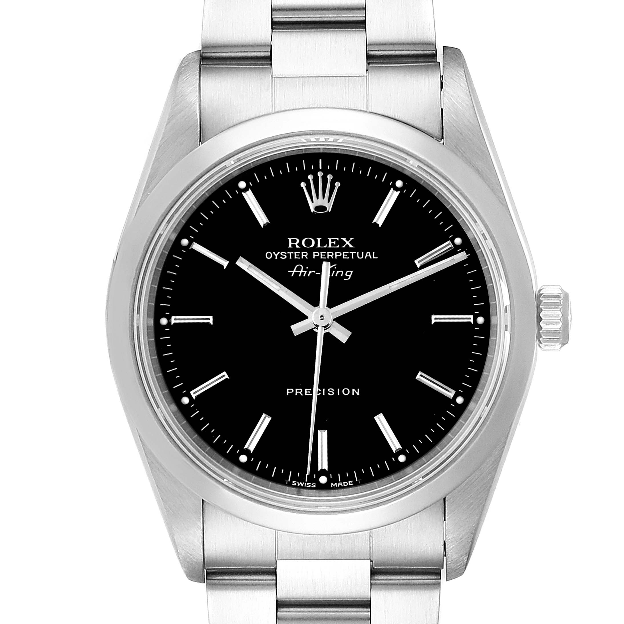 Rolex Air King Black Dial Domed Bezel Steel Mens Watch 14000 Box Papers SwissWatchExpo