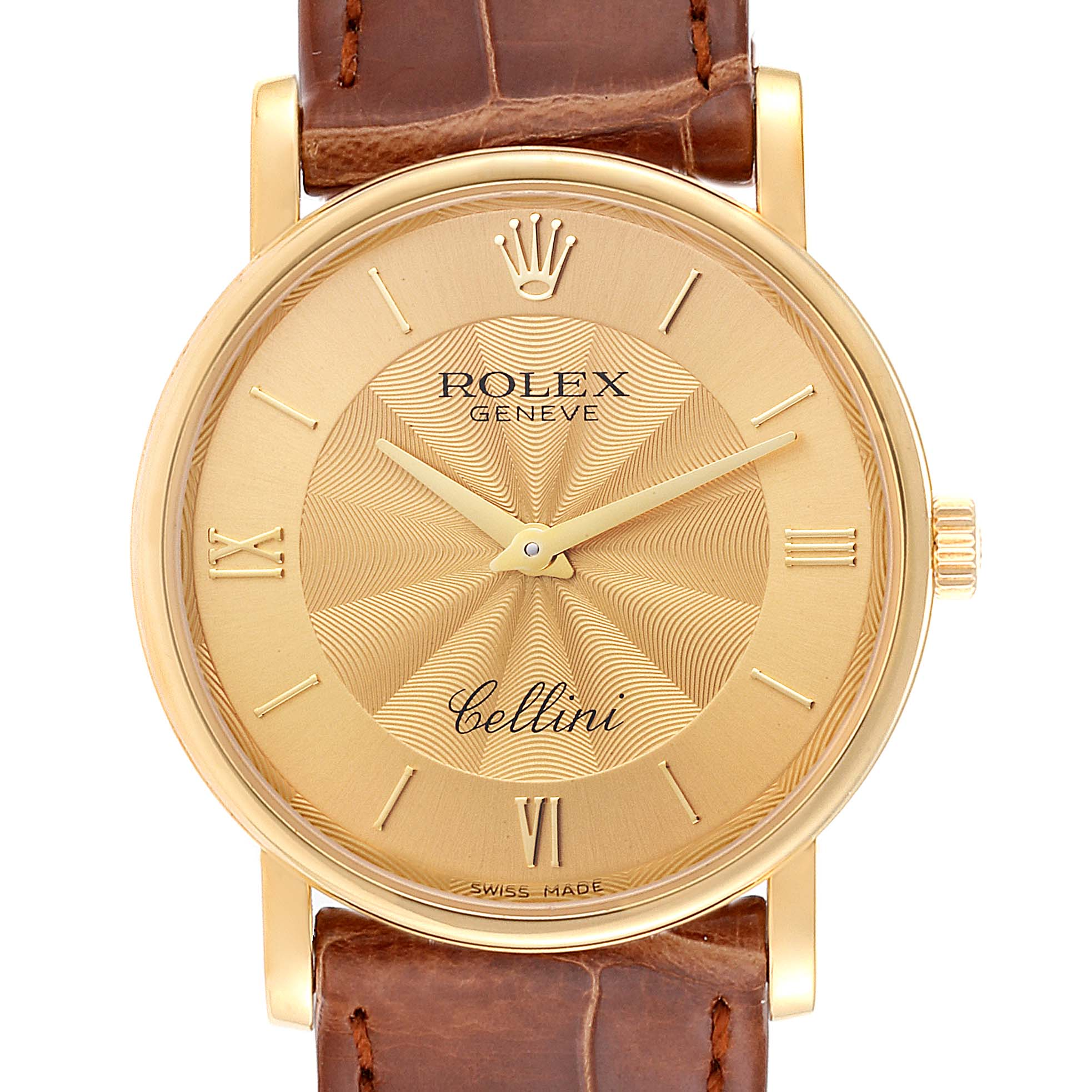 Photo of Rolex Cellini Classic 18K Yellow Gold Decorated Dial Watch 5115 Box Papers