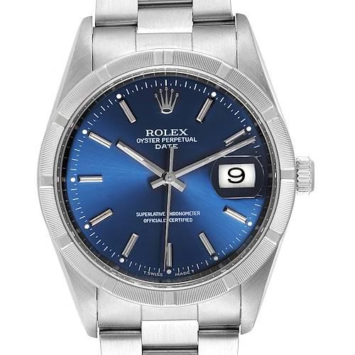 Photo of Rolex Date Blue Dial Oyster Bracelet Steel Mens Watch 15210
