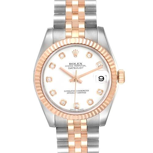 Photo of Rolex Datejust 31 Midsize Steel Rose Gold Diamond Ladies Watch 178271