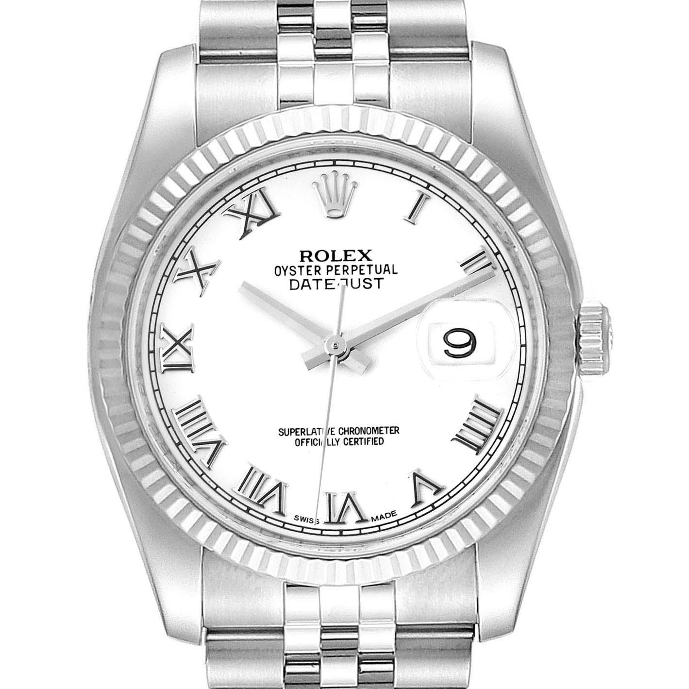 Rolex Datejust Steel White Gold Jubilee Bracelet Mens Watch 116234