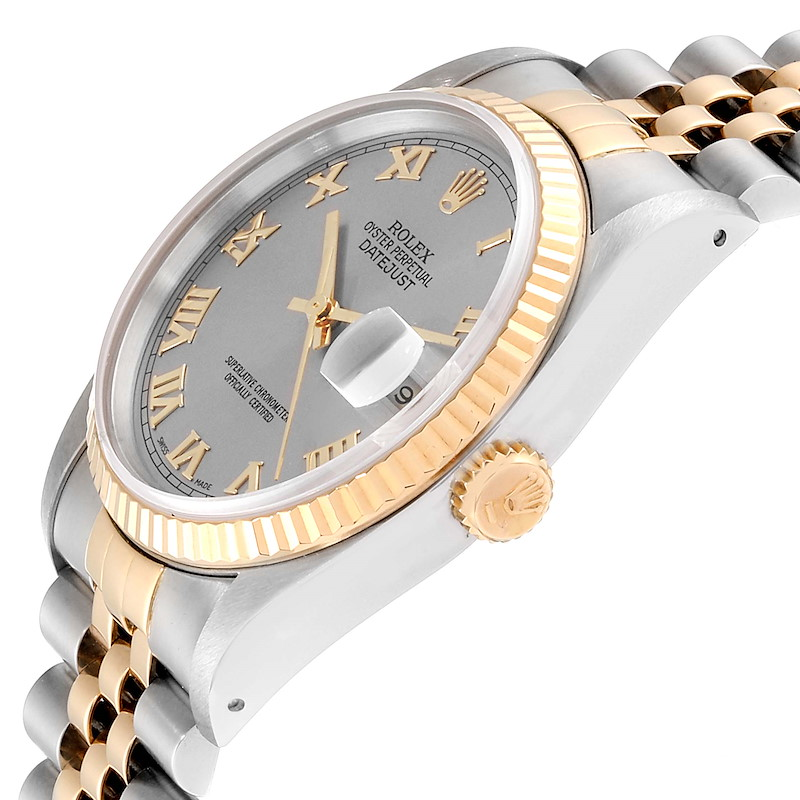 Rolex Datejust Steel Yellow Gold Slate Dial Mens Watch 16233 SwissWatchExpo