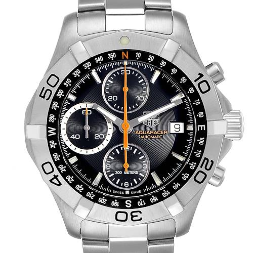 Photo of Tag Heuer Aquaracer Black Dial Chronograph Mens Watch CAF2113 Box Card