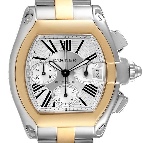 Photo of Cartier Roadster Chronograph Mens Steel Yellow Gold Watch W62027Z1