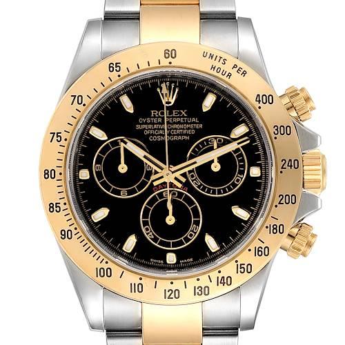 Photo of Rolex Daytona Steel Yellow Gold Black Dial Mens Watch 116523 Box Card