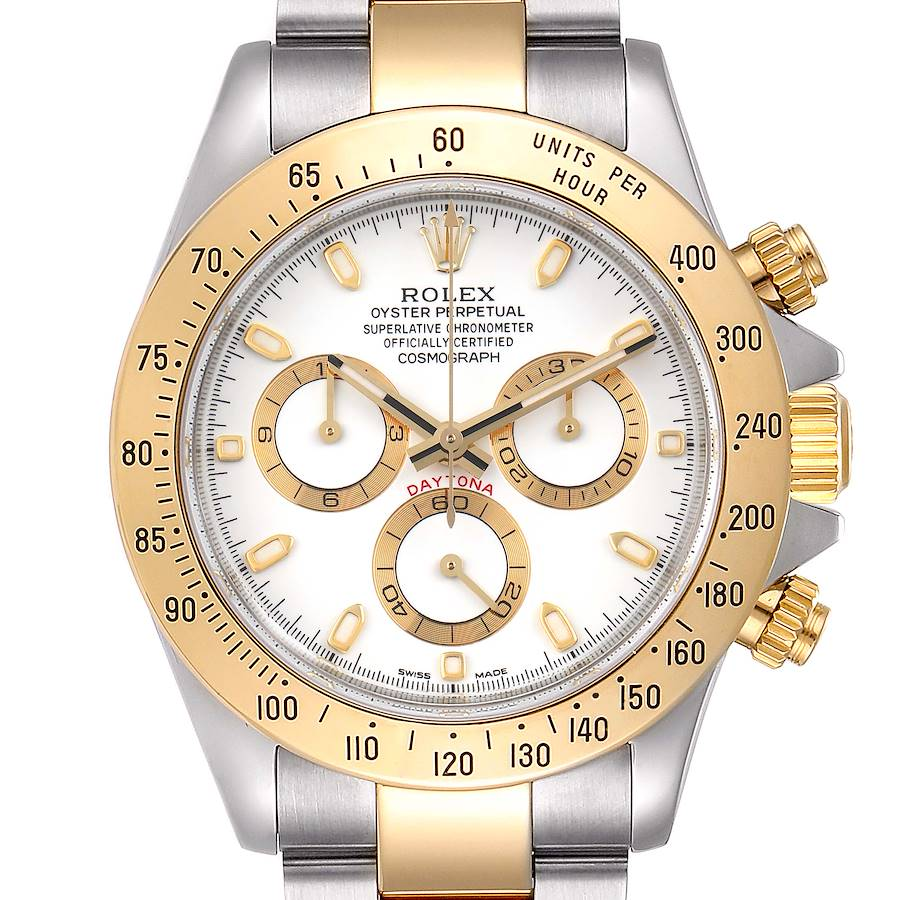 Rolex Daytona Steel Yellow Gold White Dial Mens Watch 116523 Box Papers SwissWatchExpo