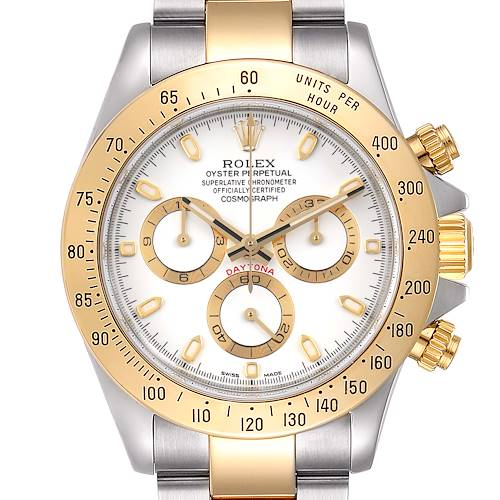 Photo of Rolex Daytona Steel Yellow Gold White Dial Mens Watch 116523 Box Papers