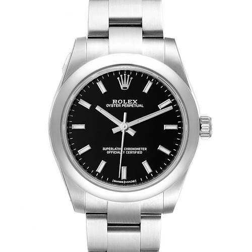 Photo of Rolex Midsize Black Dial Domed Bezel Steel Ladies Watch 177200 Unworn
